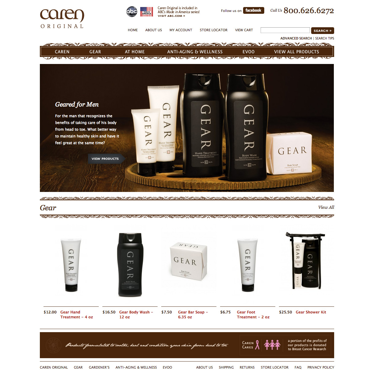 Caren Products - Gear Landing Page