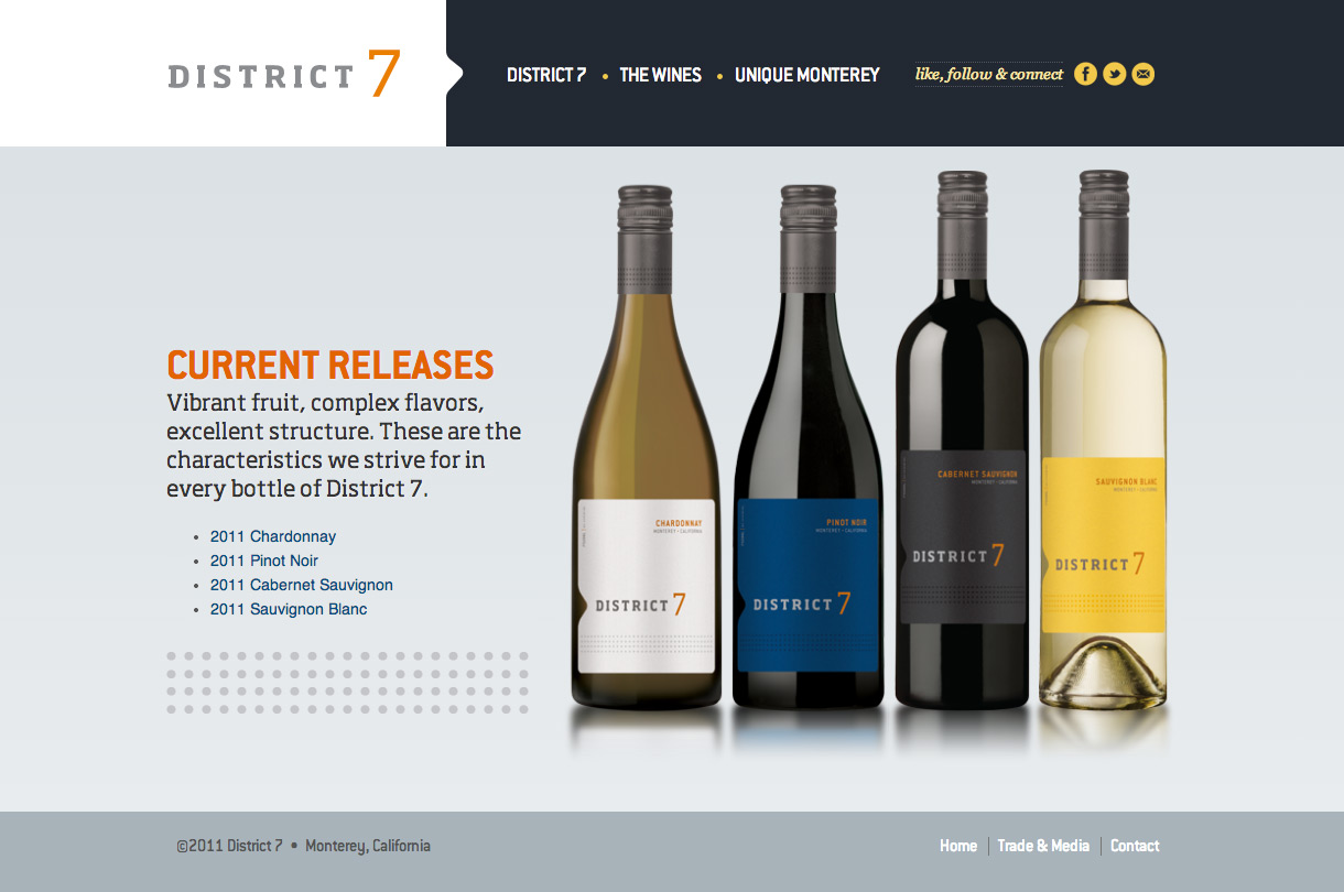District 7 Wines - Wine Section Landing Page